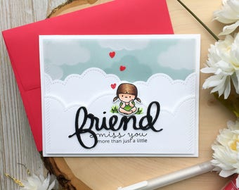 Handmade Friend Card, Miss You, Best Friend Cards, A2, Greeting Card, Friendship Cards, Card for Friend, Friend Birthday Card, Friend Cards