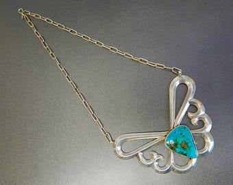 Vintage Sterling and Turquoise Butterfly Necklace
