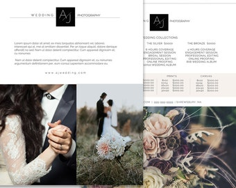 Photography Price Guide, Price List Template, Wedding Photography Branding & Marketing Design, Photoshop Template, Pricing Flyer, WLM101