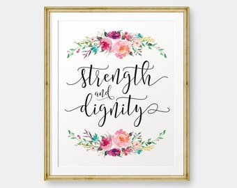 Strength and Dignity, Proverbs 31 printable, Bible Verse art print, Christian wall art, Scripture Printable - Digital Download