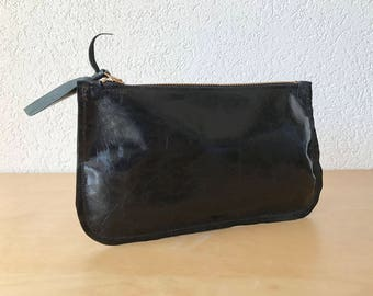Small Black Leather Clutch. Black Leather Pouch. Small Leather Cosmetic Pouch. Black Leather Wallet. Makeup Pouch