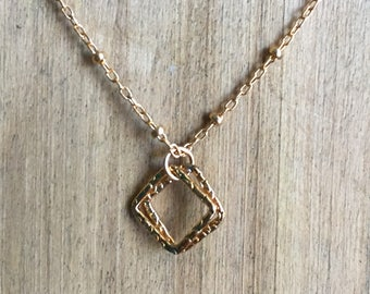 Necklace with Textured Square Charms - 18 inch