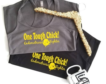 One Tough Chick Endometriosis Fighter Terry Tank Racerback Tank Top Black with Yellow