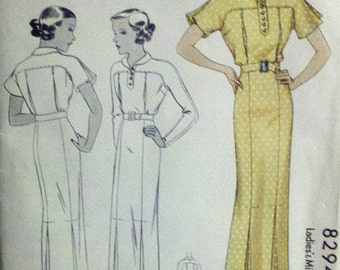 Sewing Pattern for Misses' Jean Harlow Dress - 1930s Vintage - McCall  8294 Collectable Very Rare