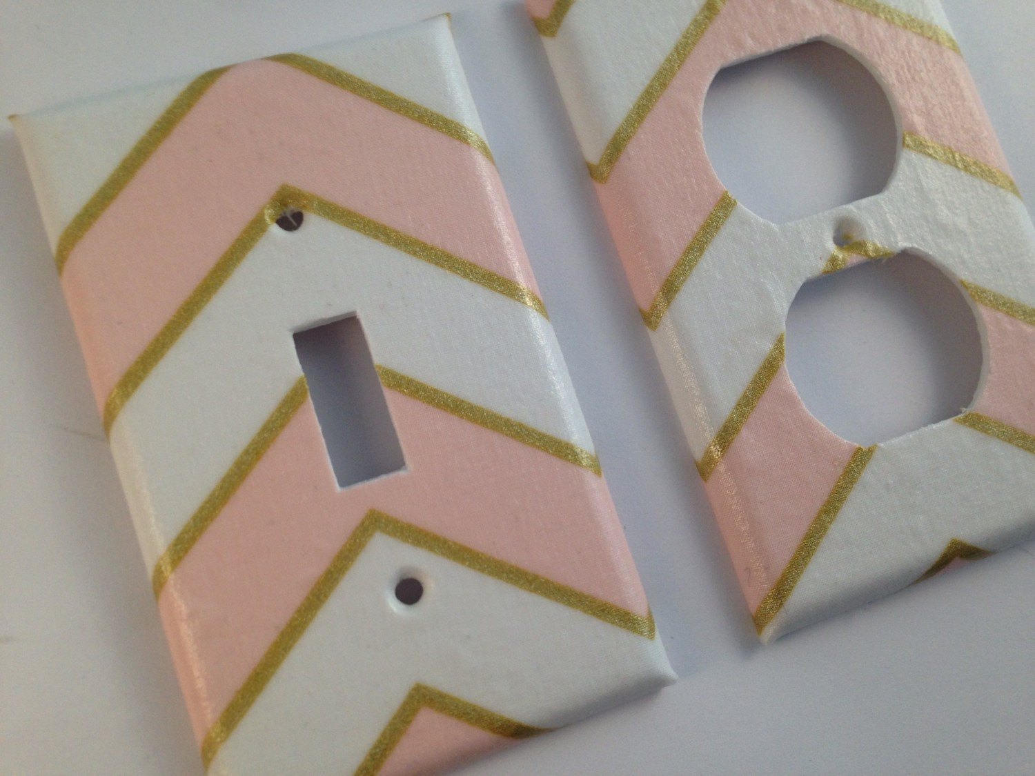Metallic Gold Pink White Light Switch Plate Cover Gold Home