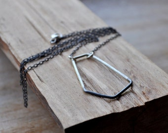 Two-Tone Geo Sterling Silver Necklace. Black and Silver. Asymmetrical. Oxidized.