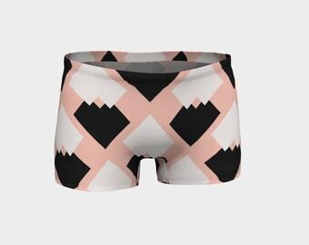 Diamonds Yoga Shorts, Boy Shorts, Black and White Diamonds Shorts, Women's Shorts, Yoga Shorts, Swim Shorts, Athletic Shorts, Running Shorts