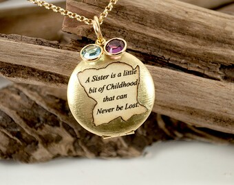 BFF sister locket with 2 birthstones A sister is a little bit of childhood that can never be lost
