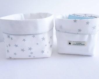 Set of 2 baskets stars silver