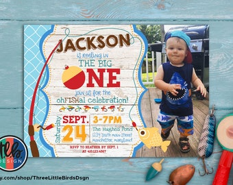 big ONE invitation, fishing theme birthday invite, boy first birthday, 1st birthday printable invitation, reeling in the big one personalize