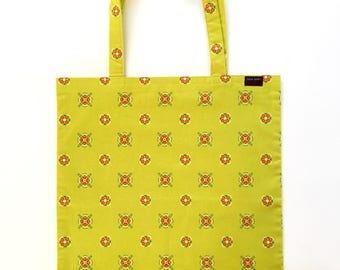 Tote Bag Yellow Blossom Cotton Print with Brown/White Lining