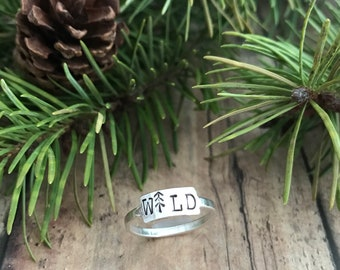 Wild and Pine Ring, Sterling Silver, Hand Stamped, WILD and Stick Pine Ring