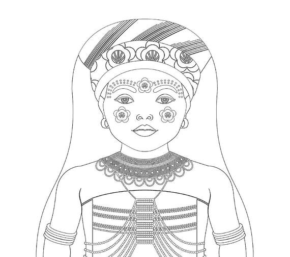 Xhosa South African Doll Traditional Dress Coloring Printable