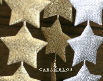 "1 1/2"" Metallic Puffy Star Ribbon Trim Embellishment Garland"