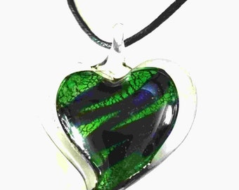 heart glass pendant, ideal for leather or metal chains, fired inside green crackle glaze and black colours display will not fade