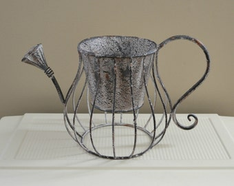 Shabby Cottage Watering Can, Wire Planter, Rustic Pitcher, French Wire Decoration, Bridal Shower Centerpiece