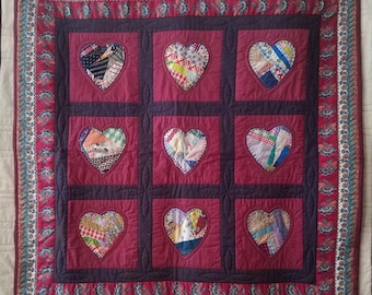 Handmade 9 Hearts Quilt/Throw/Wall Hanging