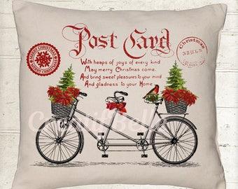 Vintage Christmas Tandem Bicycle Postcard Instant Digital Download Printable Graphic Transfer Image 1049