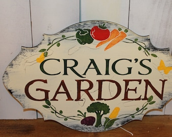 GARDEN Sign/Personalized/Decorative/Vegetable Garden Sign/stake or ribbon/Gift/Garden Sign/Door Sign/Porch Sign/Shabby Chic/Fast Shipping
