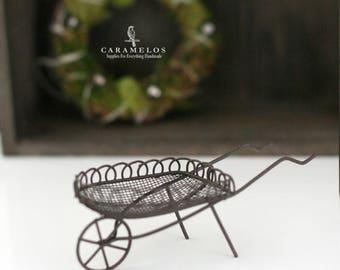 Miniature Wire Garden Wheelbarrow Fairy Garden