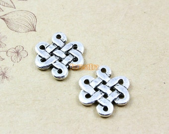 50Pcs Antique Silver Chinese knot Charm Chinese knot Pendent Connector 17x14mm (PND893)