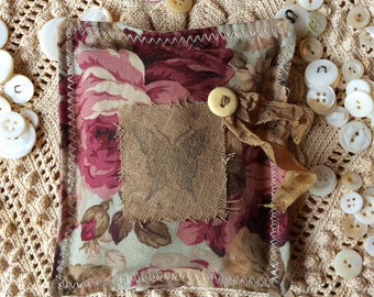 Shabby Floral Lavender Sachet Mother's Day Butterfly Bone ButtonCottage Farmhouse Decor