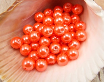 8mm Glass Pearls - Bright Salmon - 50 pieces - Neon Orange