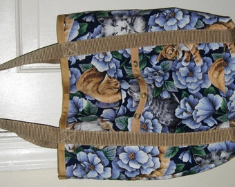 Cat Tote Bag Brown and Blue with Orange and Gray Tabby Cats