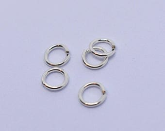 Sterling silver Jump rings - 8mm - 16g - pack of 10 - flat cut