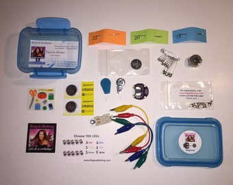 Beginner Wearable Tech Sewing Kit with 10 LEDs, 6 color choices