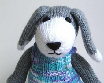 Hand Knit Stuffed Animal Dog Baby Shower Gift, Newborn Infant Girl, Toddler Grandchild Soft Plush Toy Gray White Purple, Puppy Doll in Dress