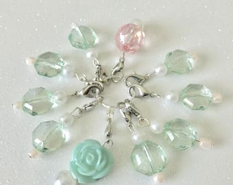 Crochet Stitch Markers in Vintage Rose