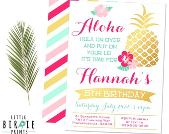 LUAU Birthday INVITATION GOLD Pineapple Birthday Invitation Luau First Birthday Invitation Hawaiian Invitation - Gold Foil Pineapple Invite