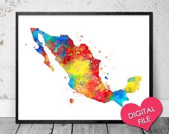 Mexico Map Watercolor, PRINTABLE Art, Digital Download, Mexico Printable Map, Mexico Print, Mexico Decor, Mexico Map Poster, Mexico Art