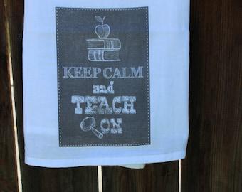 Flour Sack Towel, Tea Towel, Kitchen Towel, Shabby Chic, Cottage, Farmhouse. (TEACH ON)