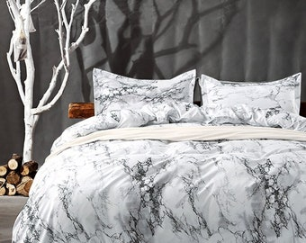 Queen Bedding Duvet Cover Set White Marble,3 Piece  1000  TC Luxury  Hypoallergenic Microfiber Down Comforter Quilt Cover With Zipper Closure