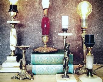 Onyx marble table lamp hollywood regency style