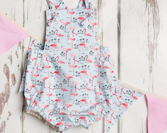Baby Romper in Flamingo Print -  Photo Shoot / Photography Outfit 6 - 12 Months White / Pink / Blue - Inc Matching Bunting