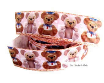 1 meter of Ribbon marine bears Brown and salmon pink coupon of 22 mm wide