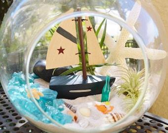 "Sailboat Beach Terrarium Kit ~ 7"" Air Plant Terrarium Kit ~ Coastal Living Beach House Decor ~ Mini Sailboat ~ Sea Shells + Starfish ~ Gift"