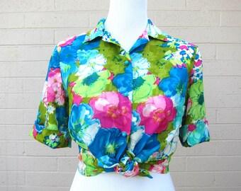 Vintage Tropical Print Floral Shirt S M