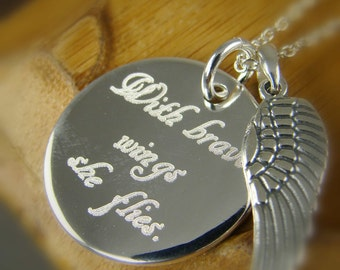 With Brave Wings She Flies Necklace Pendant, Custom Inspirational Gift for Her Word Art Jewelry 925 Sterling Silver N018