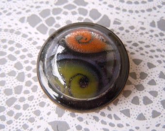 Vintage Swirled Glass Dome Cabochon Metal Orange Green Sewing Button