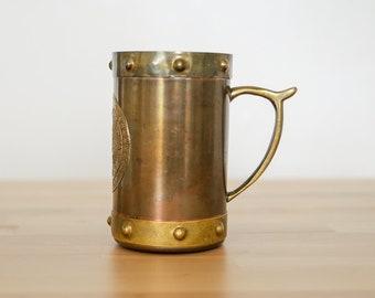 Vintage Copper Tankard • Brass Beer Stein • Metal Stud Rivets • Aztec Mandala • Pirate Festival Prop • Steampunk Mancave • Boyfriend Gift
