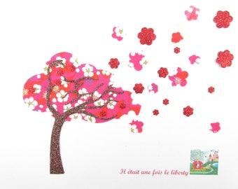 "Applied fusing tree ""cherry blossom"" liberty Mitsi red coat of liberty patch iron iron on liberty fabrics"