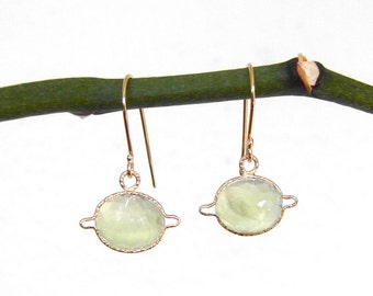 Prehnite Saturn Earrings, Dahlia faceted handmade with recycled 14k gold, Light Green Earrings, Prehnite Dangle Earrings