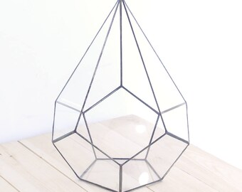 "Terrarium ""Crystal"" Geometric Glass Planter, Flower Pot / Candle Holder"