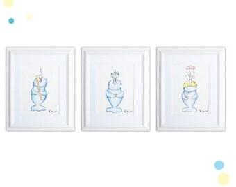 Narwhal Bathroom Art Print Set, Wash, Brush, Shower, Watercolor Narwhal Art Prints, Narwhal Baby, Nautical Bathroom, Nautical prints