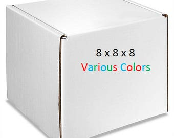 25 – Gloss Boxes 8x8x8 – Mailing Boxes of Various Colors - Cardboard Mailers – Packaging Supplies – Shipping Supplies – Storage Boxes