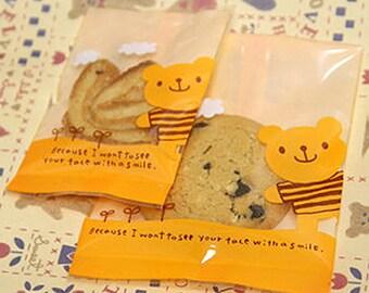 10 Orange Bear Cookie Plastic Bags (3.9 x 5.3in / 2.7 x 4.1in)